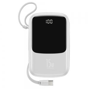 Išorinė baterija Power Bank Baseus Q Pow With Type-C Cable su LCD ekranu 10000mAh balta PPQD-A02